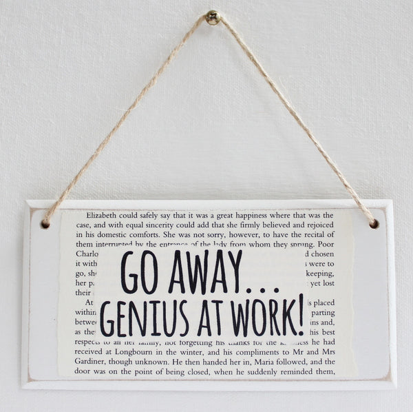 'Go Away Genius At Work' Wooden Door Sign - The Little Bookish Gift Co - 2