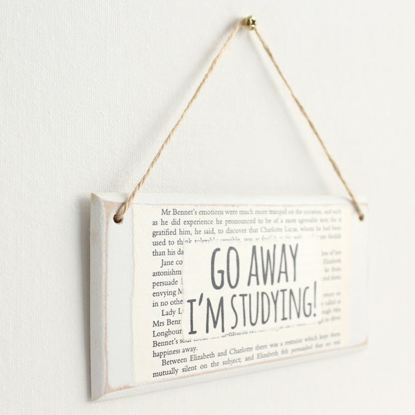 'Go Away I'm Studying' Wooden Door Sign - The Little Bookish Gift Co - 3