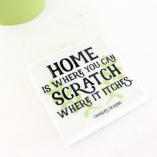 Charles Dickens Quote ~ New Home ~ Marble Coaster - The Little Bookish Gift Co - 2