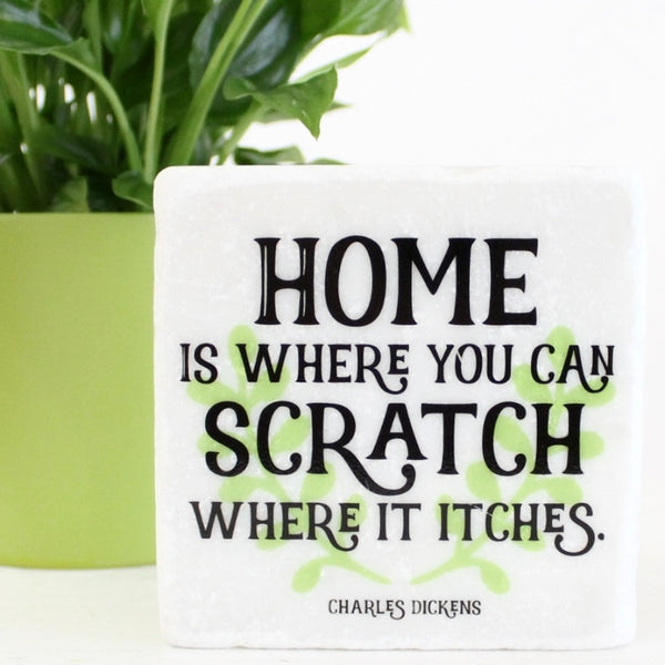 Charles Dickens Quote ~ New Home ~ Marble Coaster - The Little Bookish Gift Co - 1