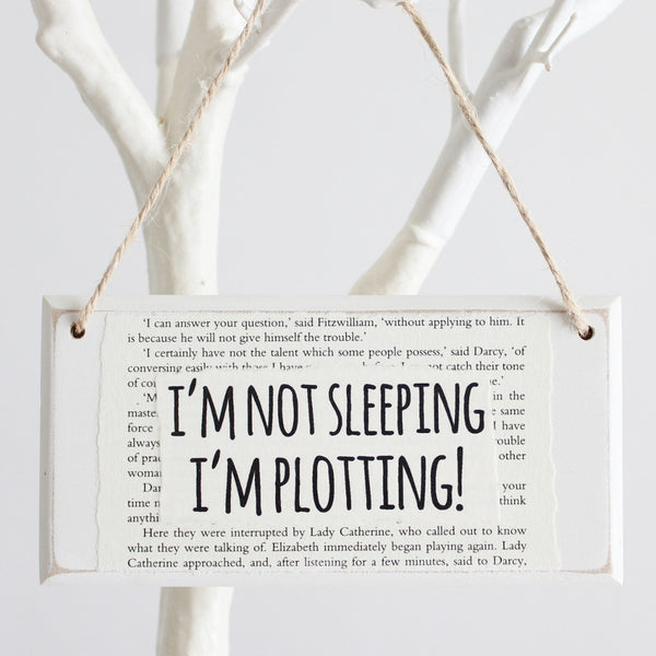'I'm Not Sleeping, I'm Plotting' Wooden Door Sign - The Little Bookish Gift Co - 1