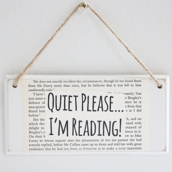 'Quiet Please I'm Reading' Wooden Door Sign - The Little Bookish Gift Co - 2