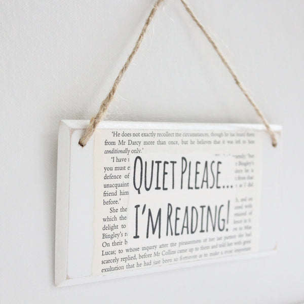 'Quiet Please I'm Reading' Wooden Door Sign - The Little Bookish Gift Co - 3