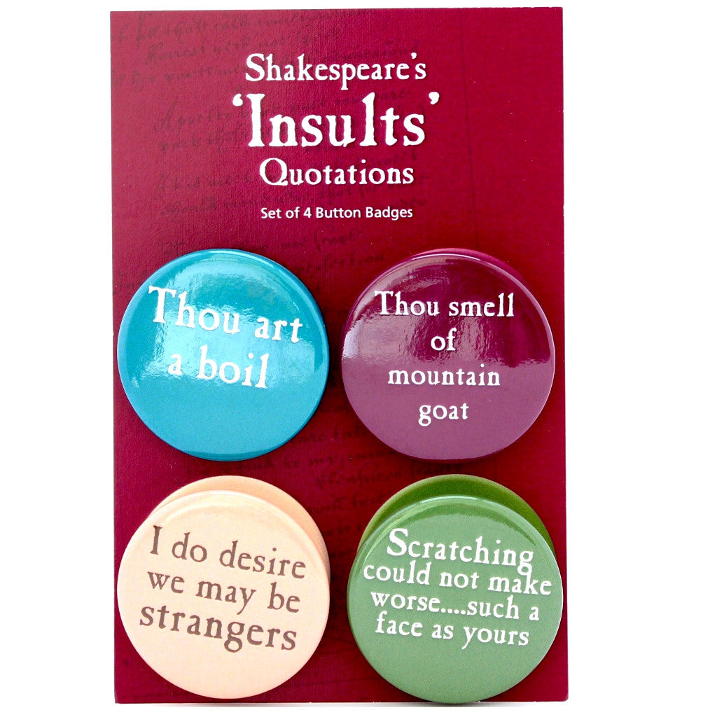 Set of 4 Quotation Badges - Shakespeare's Insults - The Little Bookish Gift Co