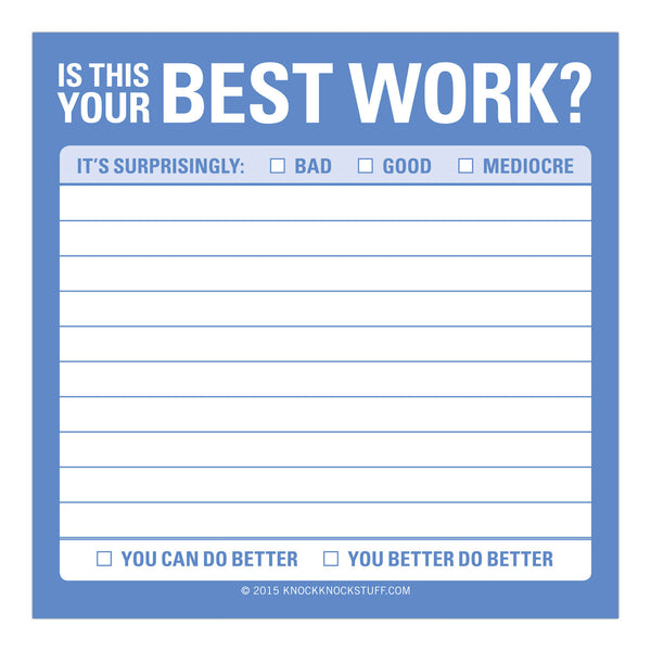 'Is This Your Best Work?' Sticky Notes - The Little Bookish Gift Co - 2