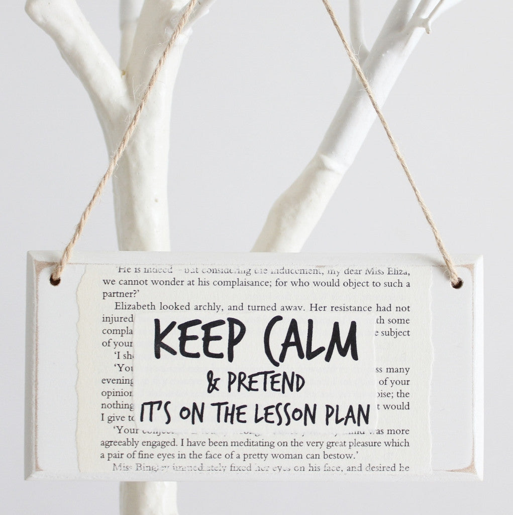 'Keep Calm & Pretend It's On The Lesson Plan' Wooden Door Sign - The Little Bookish Gift Co - 1