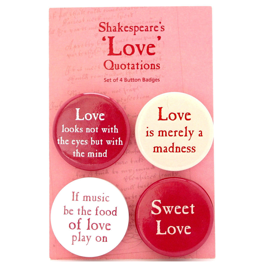 Set of 4 Quotation Badges - Shakespeare's Love - The Little Bookish Gift Co
