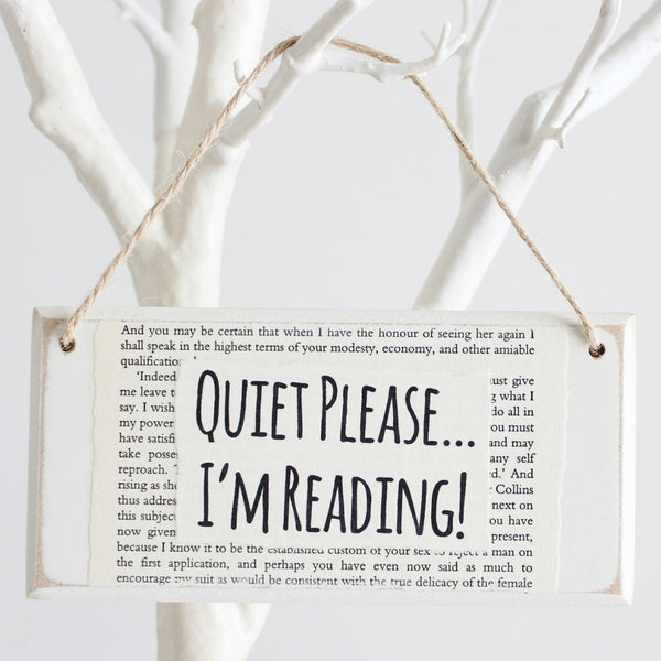 'Quiet Please I'm Reading' Wooden Door Sign - The Little Bookish Gift Co - 1