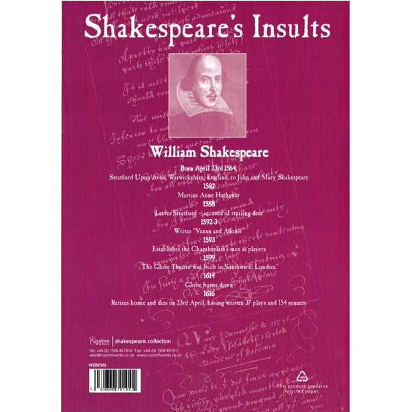 A6 Lined Exercise Book - Shakespeare's Insults - The Little Bookish Gift Co - 2