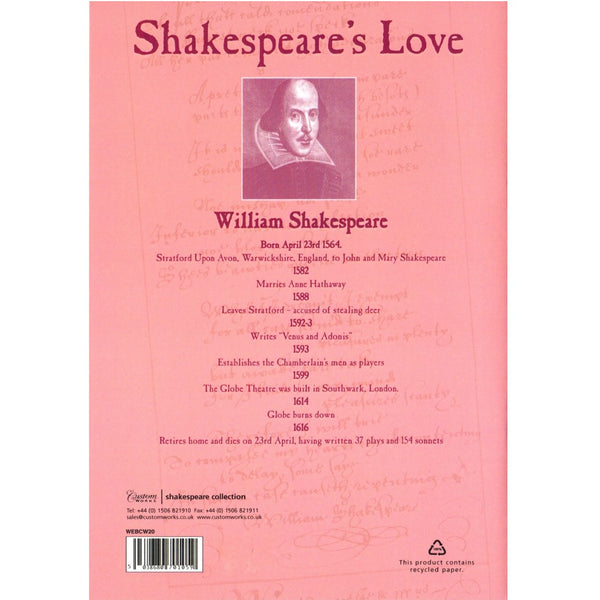 A5 Lined Exercise Book - Shakespeare's Love - The Little Bookish Gift Co - 2