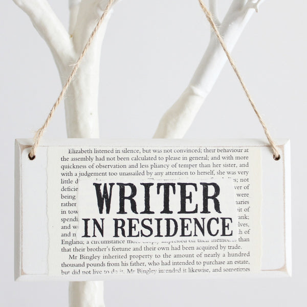 'Writer In Residence' Wooden Door Sign - The Little Bookish Gift Co - 1