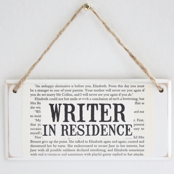 'Writer In Residence' Wooden Door Sign - The Little Bookish Gift Co - 2