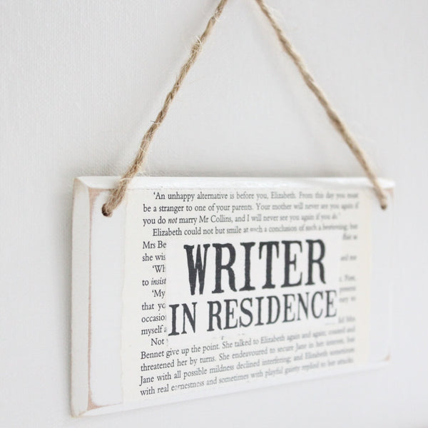 'Writer In Residence' Wooden Door Sign - The Little Bookish Gift Co - 3