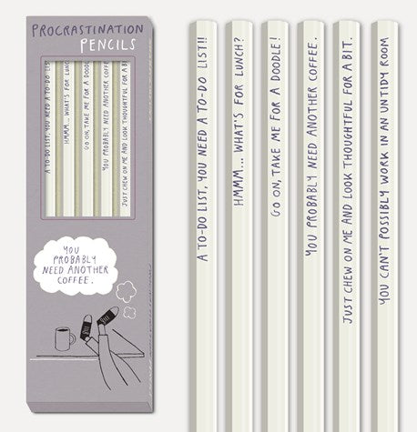 Procrastination Pencils - Set of Six - Little Bookish Gifts