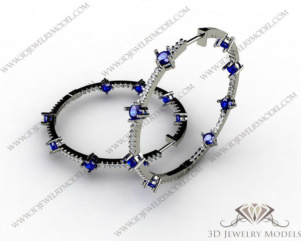 CAD CAM 3D JEWELRY MODELS 3DM STL FILES WAX 3D PRINTING EARRING 00092 - 3D Jewelry Models - 1