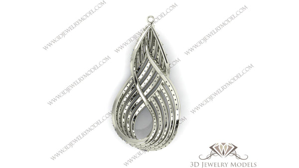 CAD CAM 3D JEWELRY MODELS 3DM STL FILES WAX 3D PRINTING EARRING 00355 - 3D Jewelry Models - 1