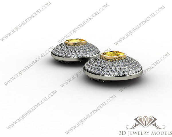 CAD CAM 3D JEWELRY MODELS 3DM STL FILES WAX 3D PRINTING EARRING CUSHION 00540 - 3D Jewelry Models - 1