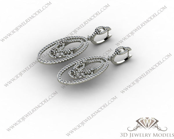 CAD CAM 3D JEWELRY MODELS 3DM STL FILES WAX 3D PRINTING EARRING OVAL 00274 - 3D Jewelry Models - 1