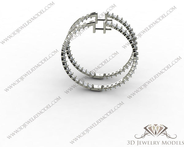 CAD CAM 3D JEWELRY MODELS 3DM STL FILES WAX 3D PRINTING EARRING CUSHION 00540