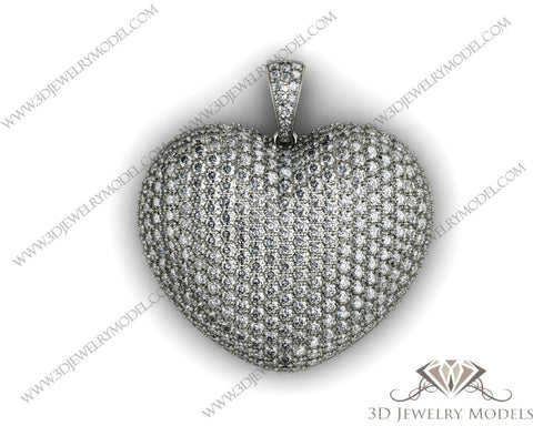 CAD CAM 3D JEWELRY MODELS 3DM STL FILES WAX 3D PRINTING PENDANT HEART 00419 - 3D Jewelry Models - 1