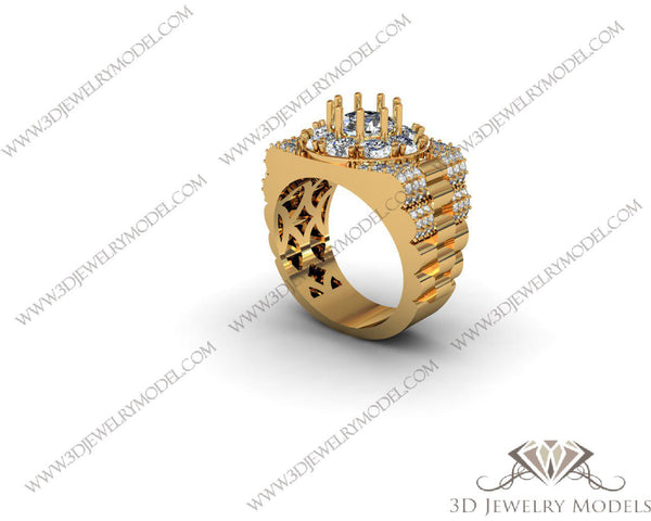 CAD CAM 3D JEWELRY MODELS 3DM STL FILES WAX 3D PRINTING RING 00015 - 3D Jewelry Models - 1
