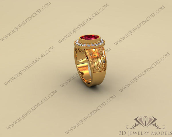 CAD CAM 3D JEWELRY MODELS 3DM STL FILES WAX 3D PRINTING RING 00042 - 3D Jewelry Models - 1