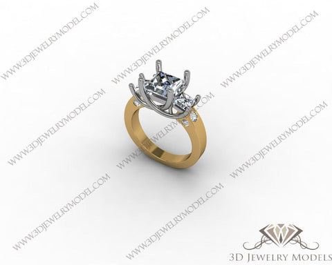 CAD CAM 3D JEWELRY MODELS 3DM STL FILES WAX 3D PRINTING RING SQUARE 00313