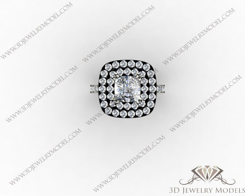 CAD CAM 3D JEWELRY MODELS 3DM STL FILES WAX 3D PRINTING RING CUSHION 00311 - 3D Jewelry Models - 1