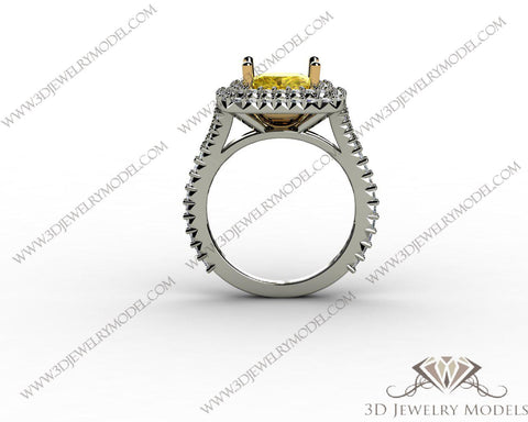 CAD CAM 3D JEWELRY MODELS 3DM STL FILES WAX 3D PRINTING RING CUSHION 00373 - 3D Jewelry Models - 1