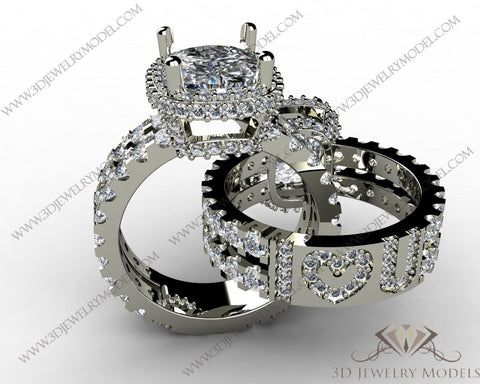 CAD CAM 3D JEWELRY MODELS 3DM STL FILES WAX 3D PRINTING RING CUSHION 00441 - 3D Jewelry Models