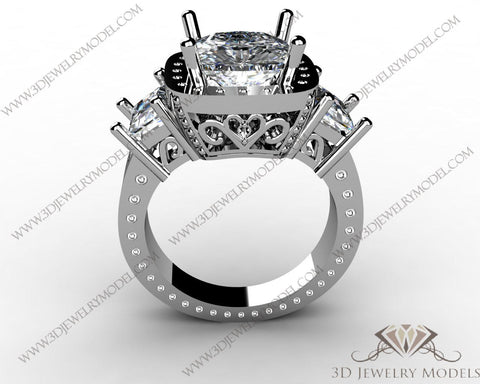 CAD CAM 3D JEWELRY MODELS 3DM STL FILES WAX 3D PRINTING RING CUSHION 00181