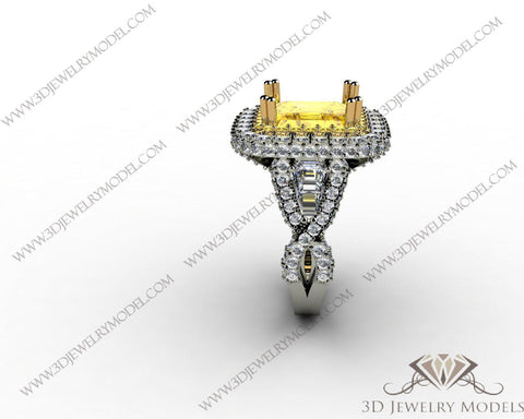 CAD CAM 3D JEWELRY MODELS 3DM STL FILES WAX 3D PRINTING RING EMERALD 00246