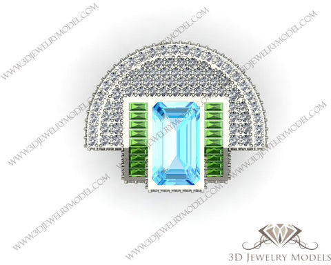 CAD CAM 3D JEWELRY MODELS 3DM STL FILES WAX 3D PRINTING RING EMERALD 00417 - 3D Jewelry Models - 1