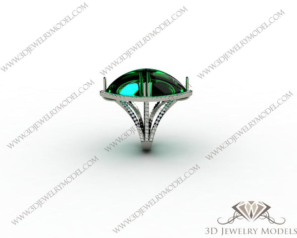 CAD CAM 3D JEWELRY MODELS 3DM STL FILES WAX 3D PRINTING RING MARQUES 00196 - 3D Jewelry Models - 1