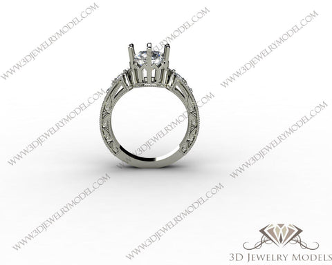 CAD CAM 3D JEWELRY MODELS 3DM STL FILES WAX 3D PRINTING RING ROUND 00188 - 3D Jewelry Models - 1