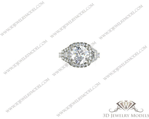 CAD CAM 3D JEWELRY MODELS 3DM STL FILES WAX 3D PRINTING RING ROUND 00239 - 3D Jewelry Models - 1