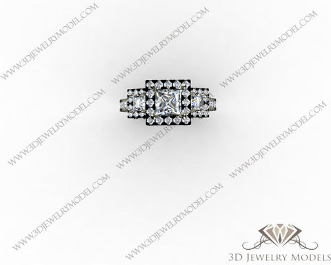 CAD CAM 3D JEWELRY MODELS 3DM STL FILES WAX 3D PRINTING RING SQUARE 00226 - 3D Jewelry Models - 1