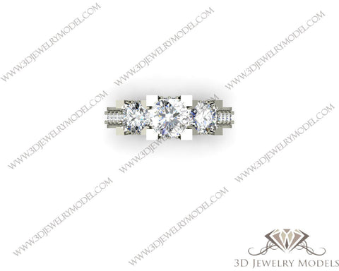 CAD CAM 3D JEWELRY MODELS 3DM STL FILES WAX 3D PRINTING RING SQUARE 00313 - 3D Jewelry Models - 1