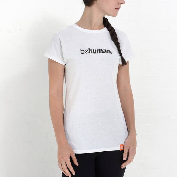 Women's White Behuman Crewneck T-Shirt
