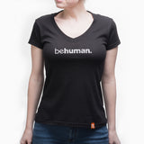 Women's Black V-Neck Behuman T-Shirt