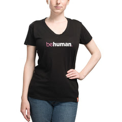 Women's Black V-Neck Heart Behuman T-Shirt