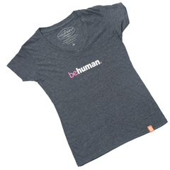 Women's Grey V-Neck Heart Behuman T-Shirt