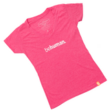 Women's Pink V-Neck Behuman T-Shirt