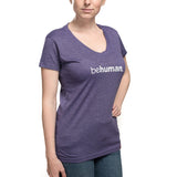 Women's Purple V-Neck Behuman T-Shirt
