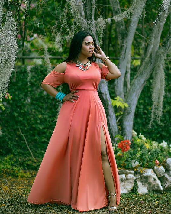 Zahara Cold Shoulder Salmon Maxi