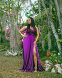 Iris High Neck Purple Maxi