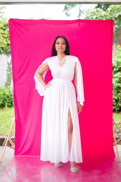 White Mother-Of-Pearl Maxi Dress