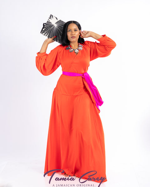 Sanaa Red Split Sleeve Maxi