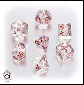 CLASSIC RPG DICE SET: TRANSPARENT BLUE/RED