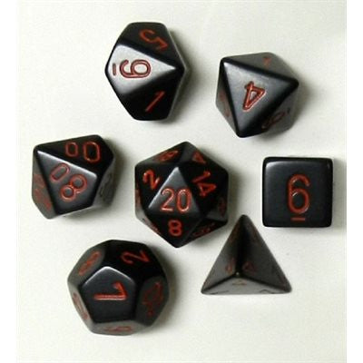 CHX25418 Opaque Black / Red polyhedral 7-die set